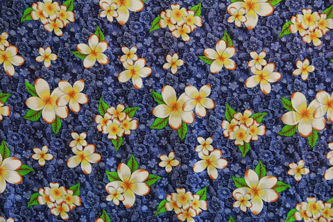 Plumeria Flowers in Hibiscus Background Blue Rayon Fabric