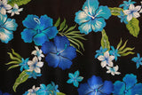 Hibiscus flowers Blue All over Rayon Fabric