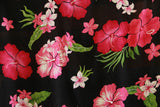 Hibiscus flowers Pink All over Rayon Fabric