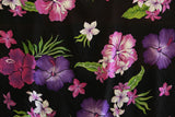 Hibiscus flowers Purple All over Rayon Fabric
