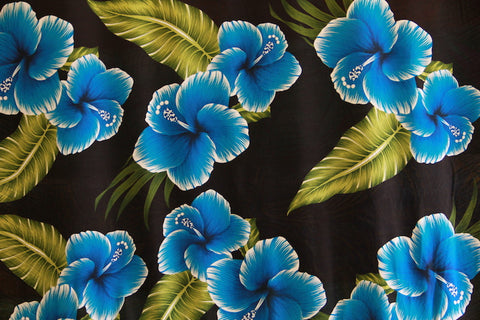 Hibiscus Flowers with Leaves Blue Rayon Fabric
