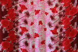 Double Border Hibiscus Flower Pink Rayon Fabric