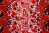 Double Border Hibiscus Flower Red Rayon Fabric