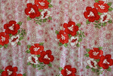 Hibiscus Flowers in Plumeria Background Red Rayon Fabric