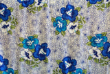 Hibiscus Flowers in Plumeria Background Blue Rayon Fabric