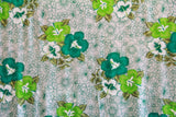 Hibiscus Flowers in Plumeria Background Green Rayon Fabric