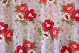Hibiscus Flowers in Plumeria Background Pink Rayon Fabric