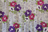 Hibiscus Flowers in Plumeria Background Purple Rayon Fabric