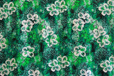 Floating Hibiscus Green Rayon Fabric