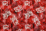 Floating Hibiscus Red Rayon Fabric