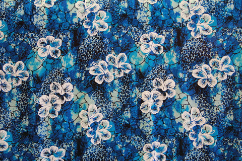 Floating Hibiscus Blue Rayon Fabric