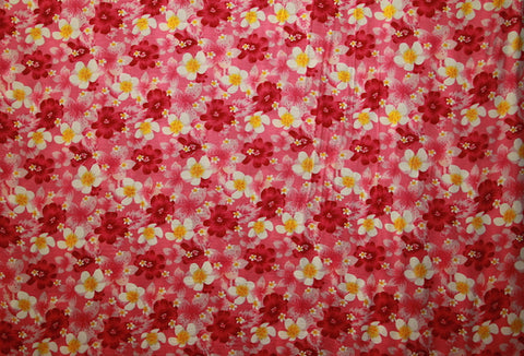 Plumeria And Hibiscus Flower Print Pink Rayon Fabric Islands Fabric