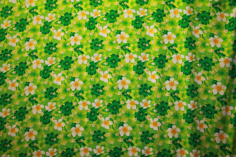 Plumeria and Hibiscus All over Flower Print Green Rayon Fabric