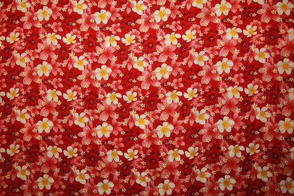 Plumeria And Hibiscus Flower Print Red Rayon Fabric Islands Fabric