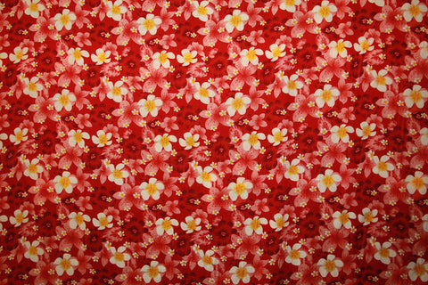 Plumeria and Hibiscus flower Print Red Rayon Fabric