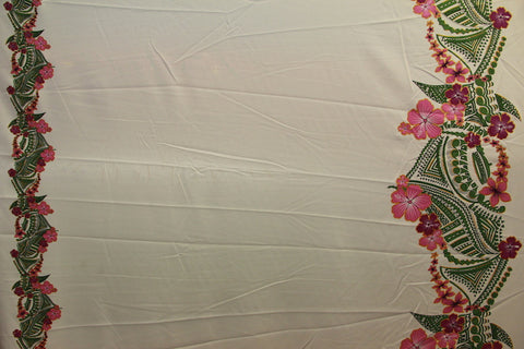 Double border Plumeria flowers with tribal prints White Fabric