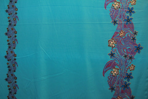 Double border Plumeria flowers with tribal prints Teal Fabric