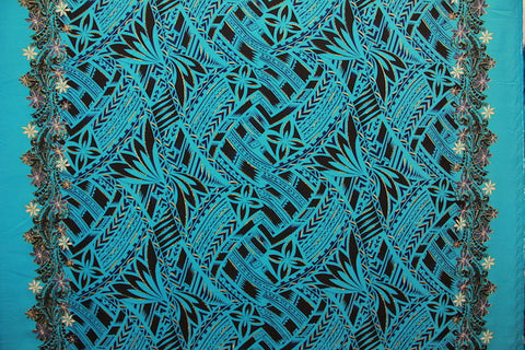 Double Border with Tapa prints and Flowers Glittered Turquoise Fabric