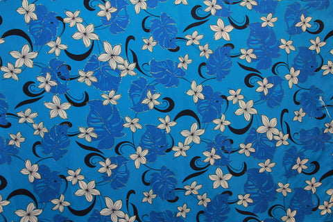 Plumeria Monstera Floral Blue Fabric