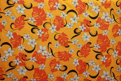 Plumeria Monstera Floral Orange Fabric