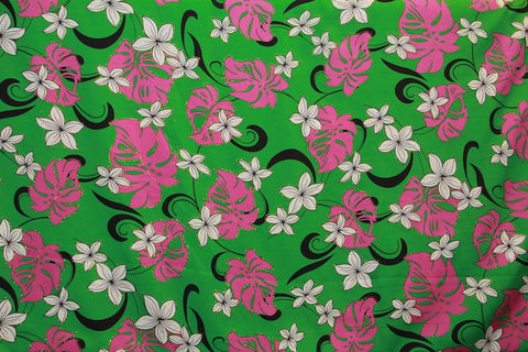 Plumeria Monstera Floral Green Fabric