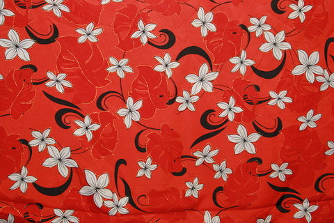 Plumeria Monstera Floral Red Fabric