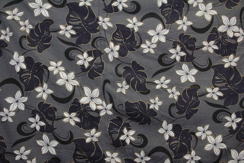 Plumeria Monstera Floral Light Gray Fabric