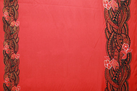 Double border Polynesian print Red Fabric
