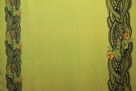 Double border Polyniesian print Green Yellow Fabric