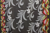Doube border of Kava print with Plumeria flowers Gray Fabric