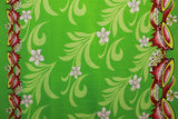Doube border of Kava print with Plumeria flowers Lime green Fabric