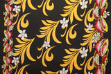 Doube border of Kava print with Plumeria flower Black Fabric