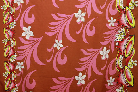 Doube border of Kava print with Plumeria flowers Dark orange Fabric