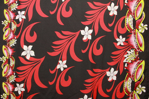 Doube border of Kava print with Plumeria flowers Dark Gray Fabric