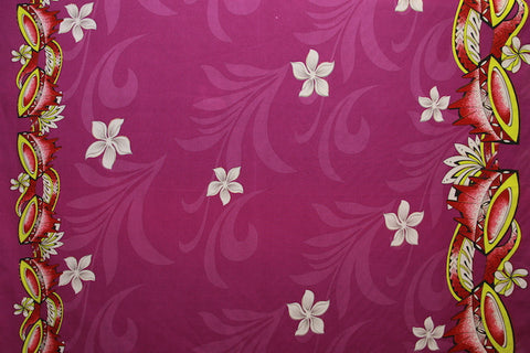 Doube border of Kava print with Plumeria flowers Violet Fabric