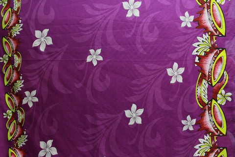 Doube border of Kava print with Plumeria flowers Purple Fabric