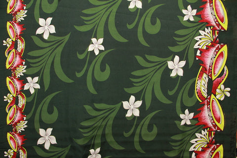 Doube border of Kava print with Plumeria flowers Dark Green Fabric