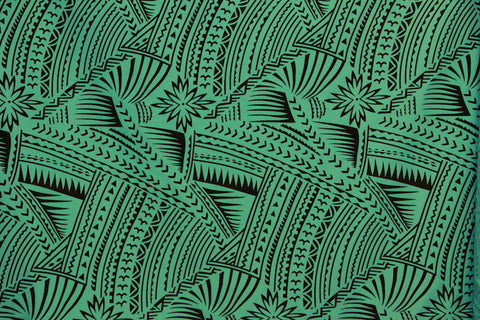 Hawaiian Tattoo Flocking Sea Green Fabric