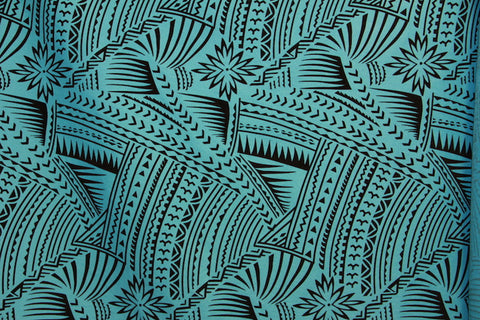 Hawaiian Tattoo Flocking Turquoise Fabric