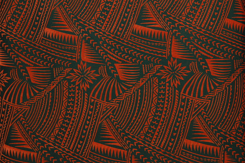 Hawaiian Tattoo Floicking Forrest Green Fabric