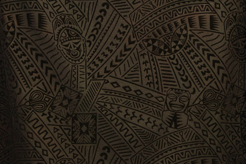 Hawaiian Tribal Tiki face Flocking Black Fabric