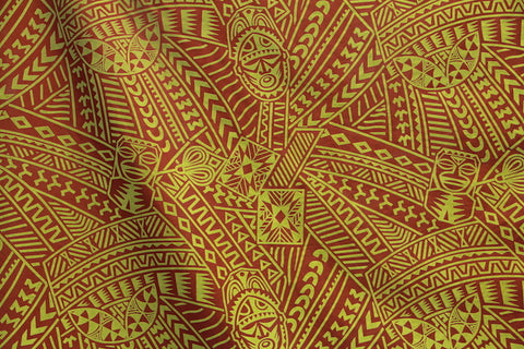 Hawaiian Tribal Tiki face Flocking Rust Fabric