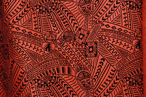 Hawaiian Flocking Tribal Tiki Face Flocking Red Fabric
