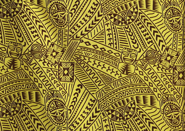 Hawaiian Tribal Tiki Face Flocking Yellow Fabric Islands