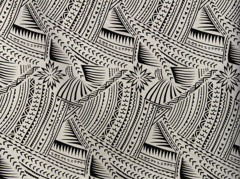 Hawaiian Tattoo Flocking White & Black Fabric