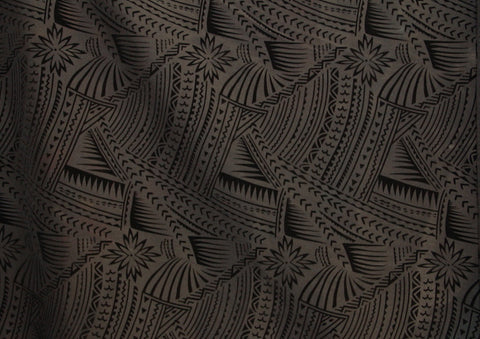 Hawaiian Tattoo Flocking Black Fabric