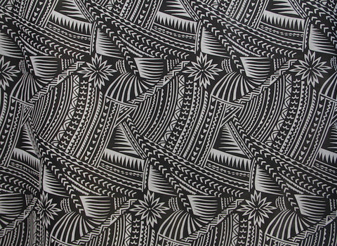 Hawaiian Tattoo Flocking Black & Grey Fabric