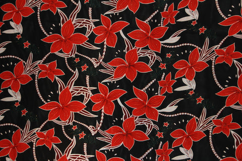 Big Plumeria Glittered Black Fabric