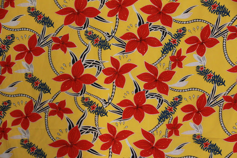 Big Plumeria Glittered Yellow Fabric