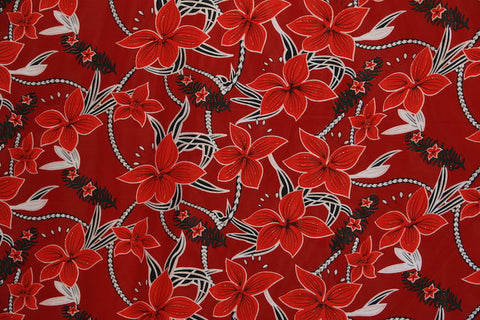 Big Plumeria Glitter Red Fabric